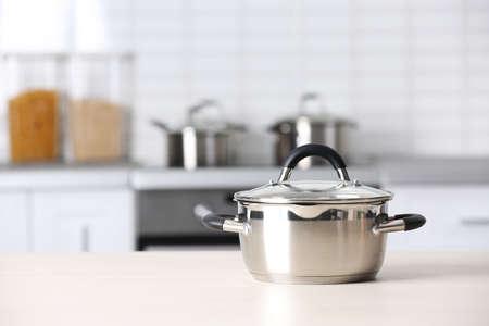 Metal pan on kitchen counter