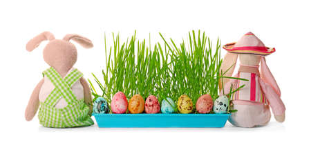 Easter rabbits with eggs on white background