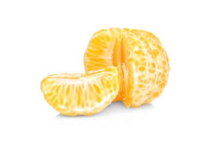 Peeled juicy mandarin on white background Stock Photo