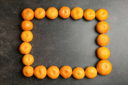 Square frame made of tangerines