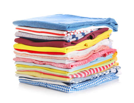 Stack of colorful clothes on white background, closeup