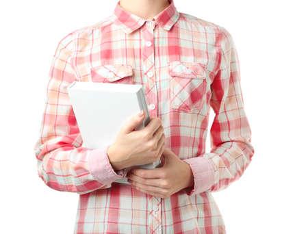Woman holding book on white background, closeup 版權商用圖片