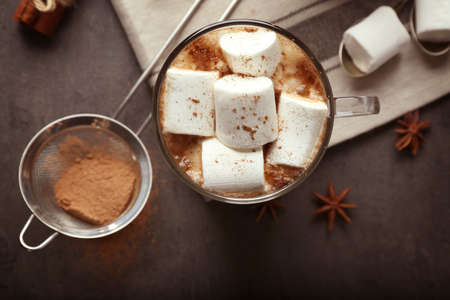 Cup of hot cocoa with marshmallows, closeup