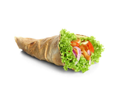 Delicious kebab sandwich isolated on white