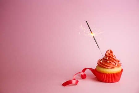 Cupcake with sparkler on color background