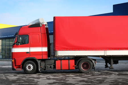 Big truck outdoors on parking lot Stock Photo