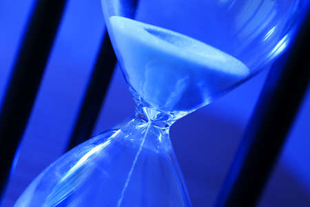 Hourglass with white sand, closeup