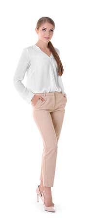 Beautiful business woman on white background