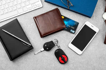 Businessman accessories on grey table