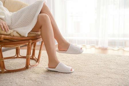 Legs of beautiful young woman in spa salon
