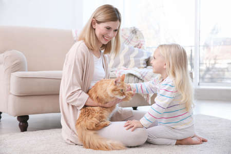 Mother and her daughter with cat at home 스톡 콘텐츠