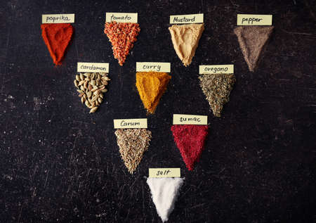 Various kinds of spices on grey background