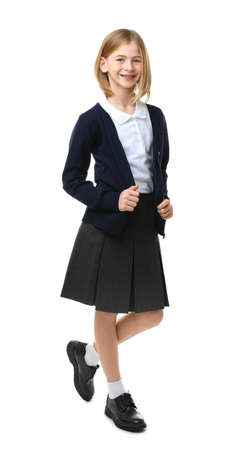 Cute girl in school uniform on white background