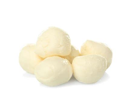 Cheese balls on white background