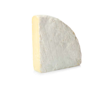 Piece of fresh cheese on white background