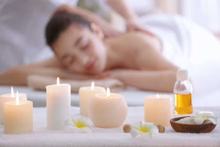 Beautiful spa composition with blurred woman on background