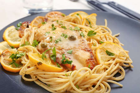 Delicious Italian chicken piccata on plate