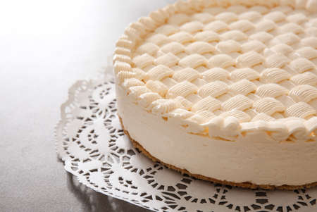 Delicious cheesecake on serviette