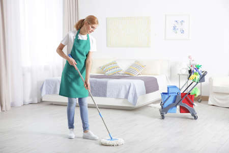 Woman with mop cleaning home