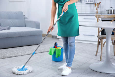 Woman with mop cleaning home Foto de archivo