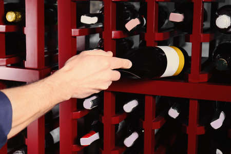 Male sommelier choosing wine in cellar Stock Photo