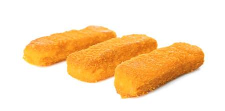 Cheese sticks on white background