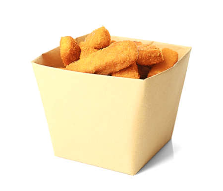 Paper box with cheese sticks on white background