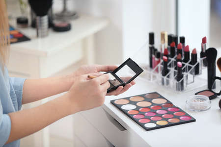 Professional makeup artist with cosmetics at beauty salon Stock Photo