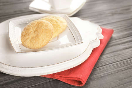 Tasty sugar cookies on plate