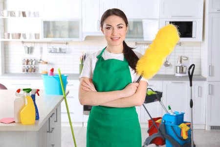 Young female cleaner at work in kitchen Stock Photo