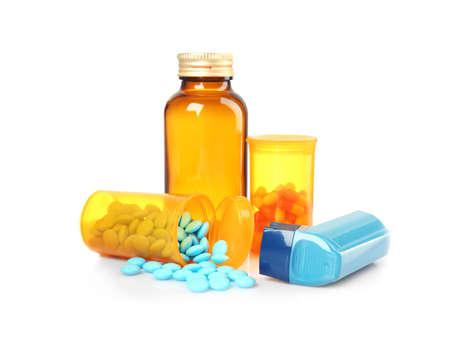 Asthma inhaler and medicines on white background Reklamní fotografie