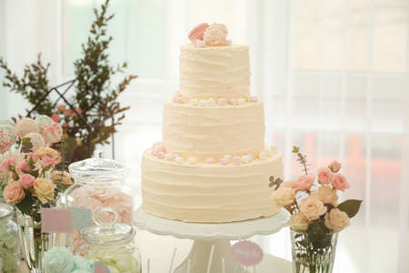 Tasty cake and sweets on table prepared for party
