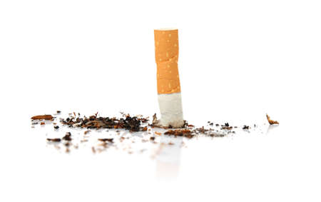 Cigarette butt, isolated on white