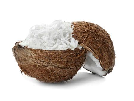 Coconut flakes and fresh nut on white background 版權商用圖片