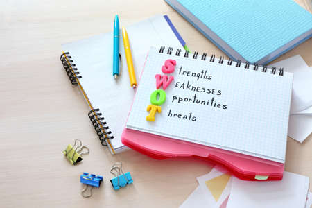 Notebook with written text STRENGTHS WEAKNESSES OPPORTUNITIES THREATS on wooden table Stock Photo