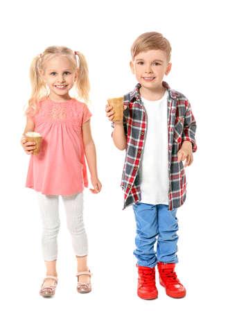 Cute little children eating ice cream on white background