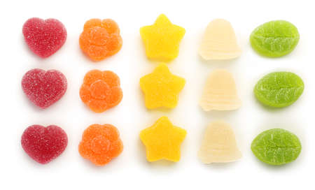 Tasty jelly candies on white background Banque d'images