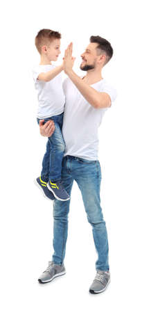 Handsome man with his son on white background Stock Photo
