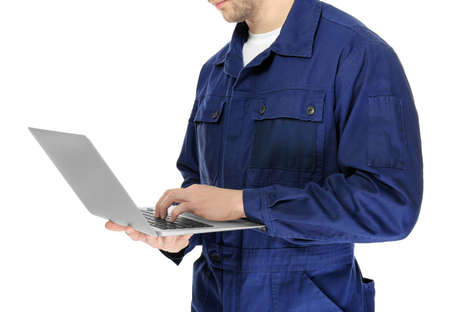Auto mechanic with laptop on white background, closeup