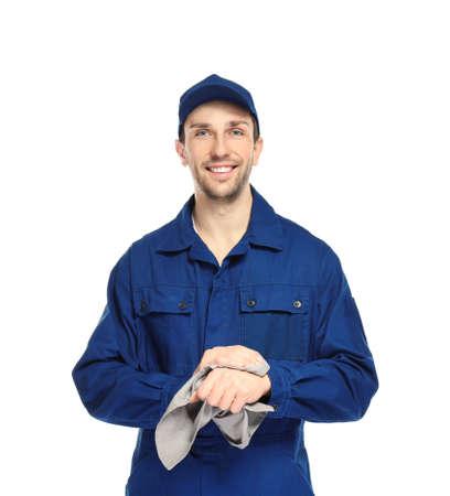 Handsome auto mechanic on white background 写真素材
