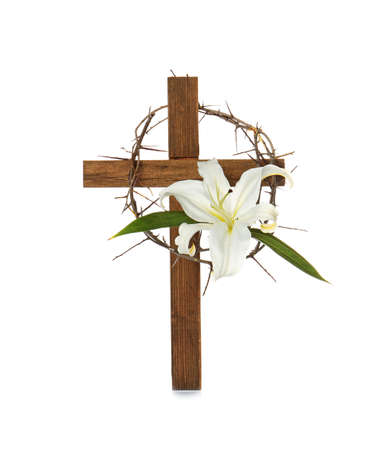 Cross, crown of thorns and Easter white lily on white background