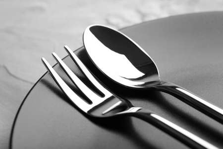 Fork and spoon on plate, close up