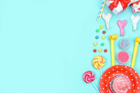 Bright birthday decor on color background