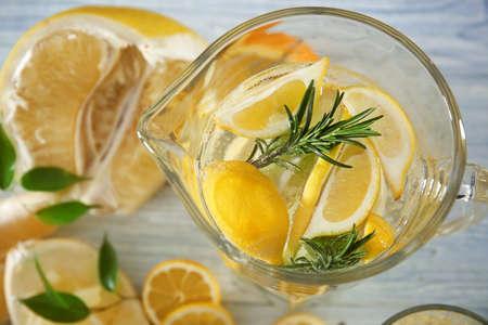 Jug with fresh lemonade, closeup Stock Photo