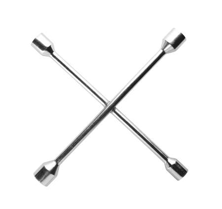 Cross wheel wrench on white background