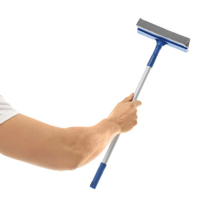 Hand of window cleaner with mop on white background