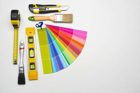Set of decorators tools on light background