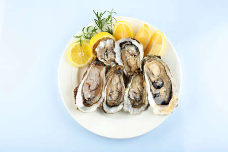 Plate with tasty fresh oysters and sliced juicy lemon on white background. Aphrodisiac food for increasing sexual desire