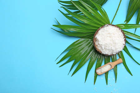 Composition with coconut flakes and palm leaf on color background, top view Stock fotó