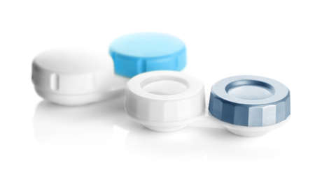 Containers for contact lenses on white background 스톡 콘텐츠